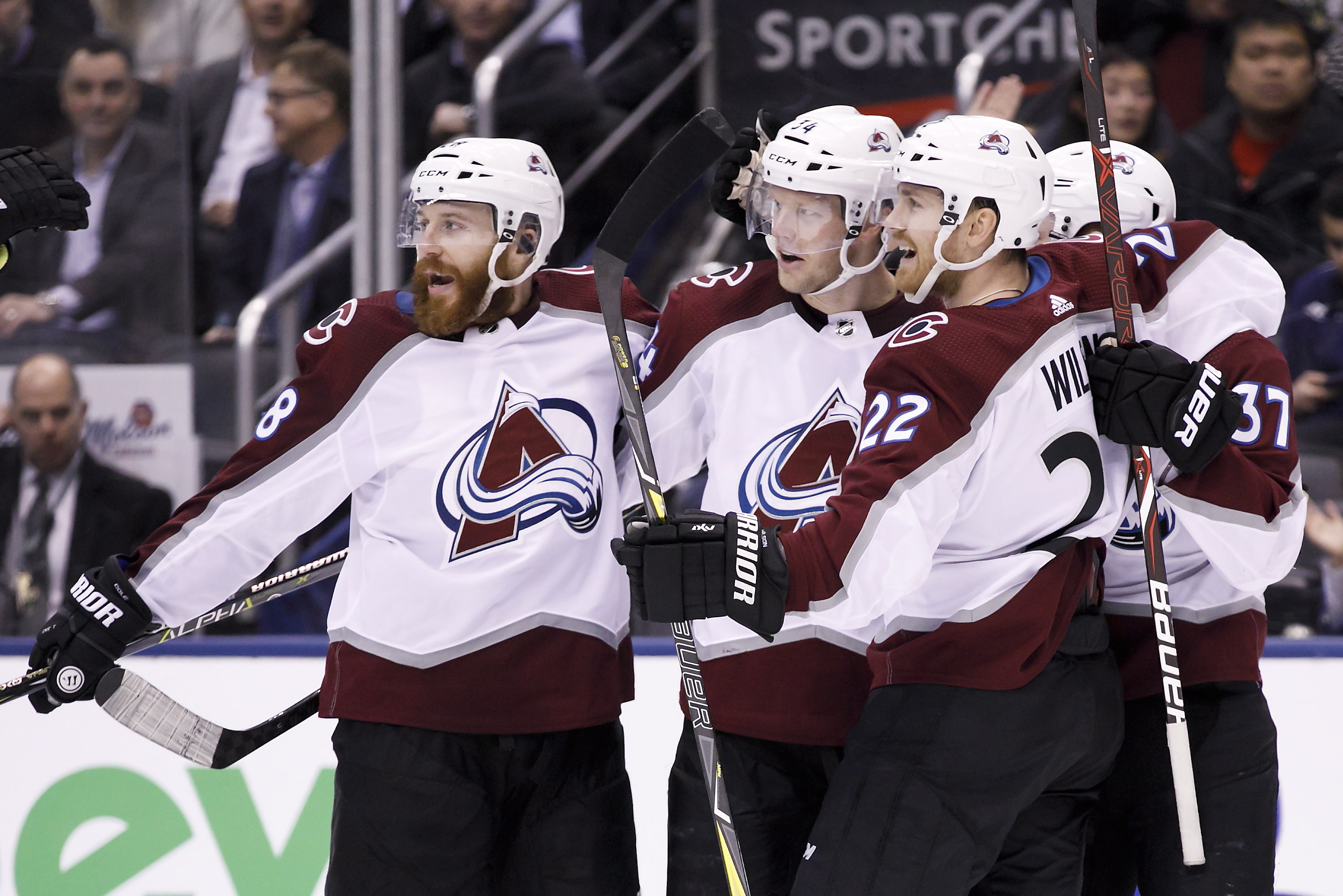 bf3afa22a58 Colorado Avalanche players celebrate centre Carl Soderberg's (34) game  winning goal against the Toronto Maple Leafs during third period action in  ...