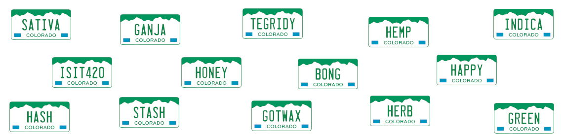 Weed-themed vanity plates