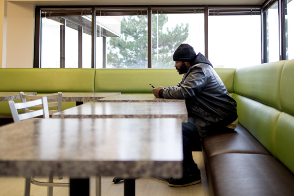 Perfect Joshua Fobbs, A Graduate Of The Boulder Bridge House Ready To Work Program,  Relaxes In The Cafeteria Of The Bridge House. Fobbs Is A Big Advocate Of  The ...